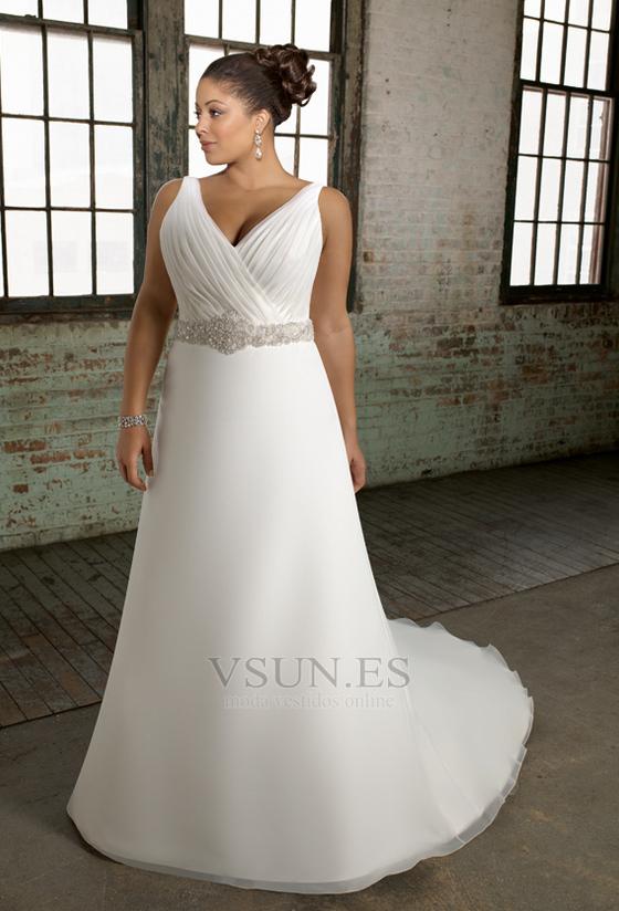 vestido de novia tallas grandes cinturón de cuentas espalda medio