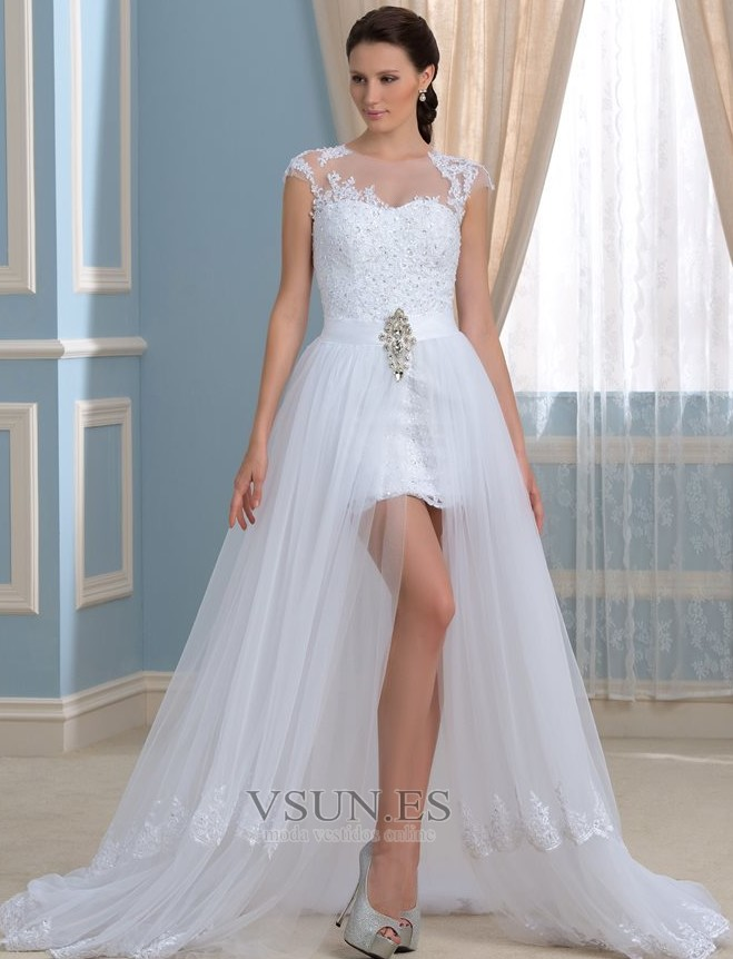 0df4118e8 Vestido de novia Rectángulo Natural Pura espalda Cola Capilla Dobladillos -  Página 1 ...