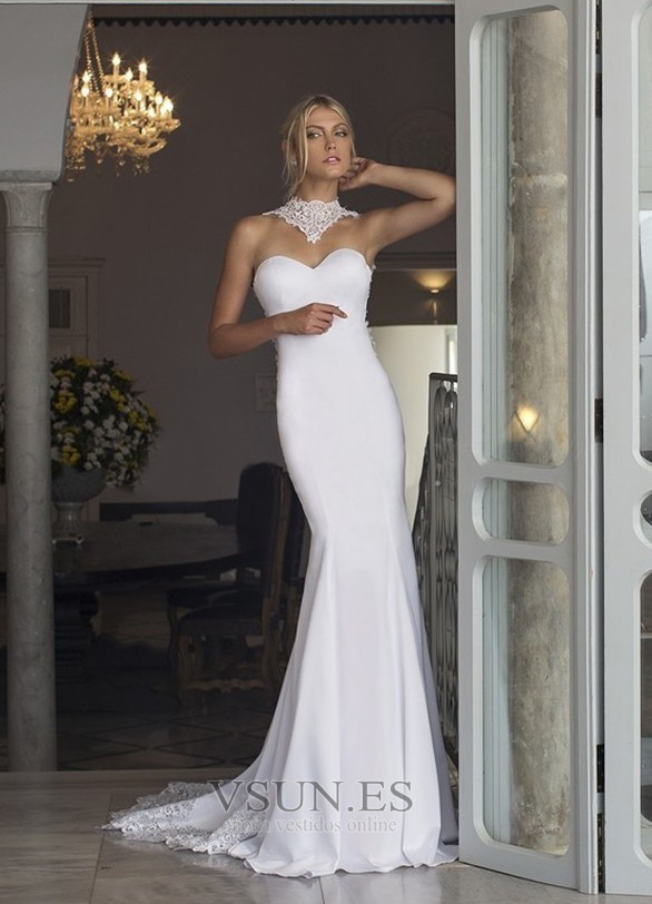 Vestido de novia Playa Cola Capilla Corte Sirena sexy Satén Elástico ...
