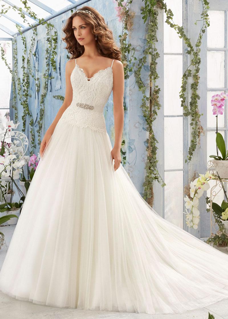 Vestido de novia Escote de Tirantes Espaguetis Encaje Natural largo ...