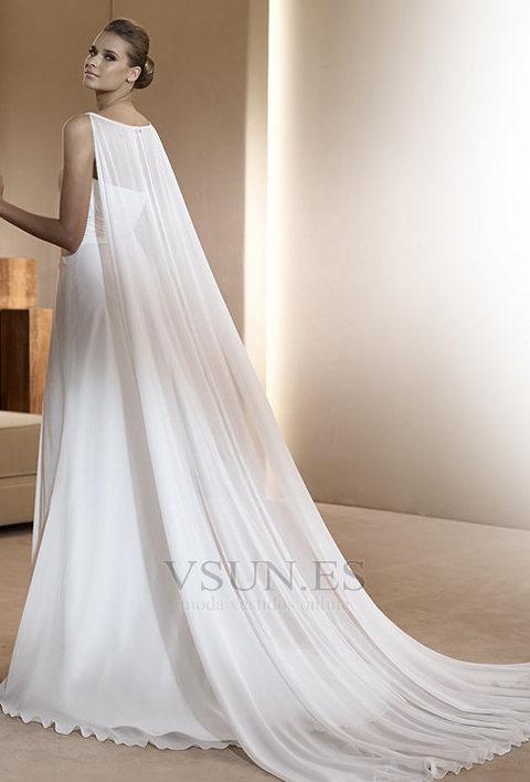 Vestido de novia Gasa Imperio Cintura Abalorio Joya Hasta el suelo ...