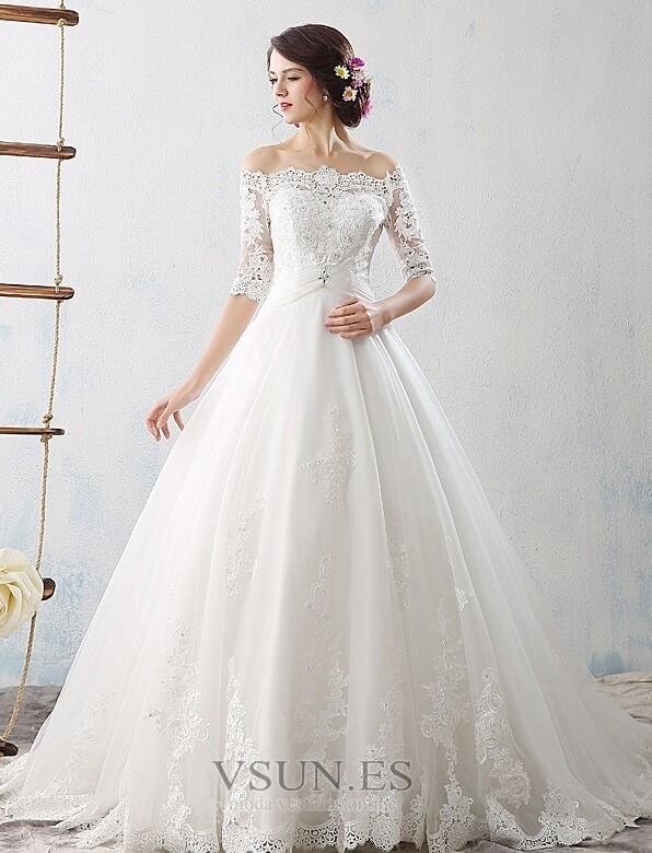 vestido de novia apliques reloj de arena cordón natural barco sin