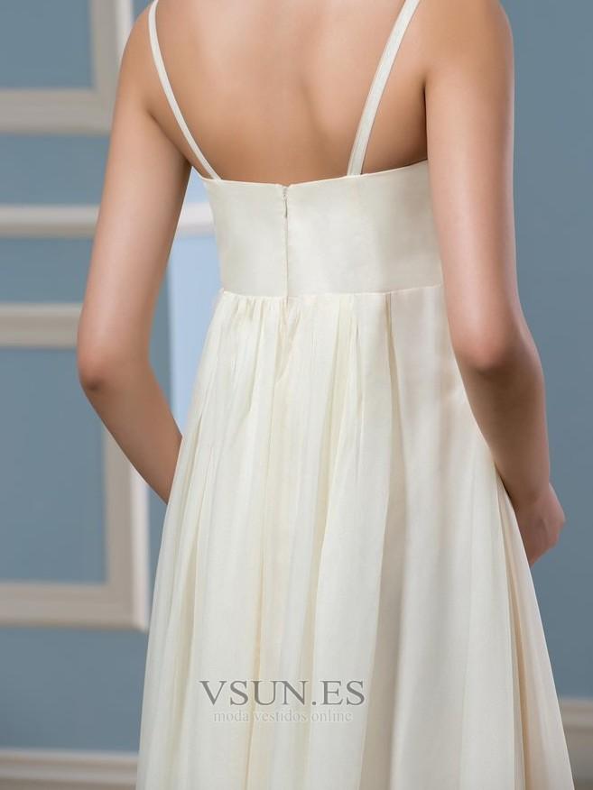 10e554560 ... Vestido de novia Sencillo Dobladillos Verano Playa Imperio Cintura Cola  Capilla - Página 5