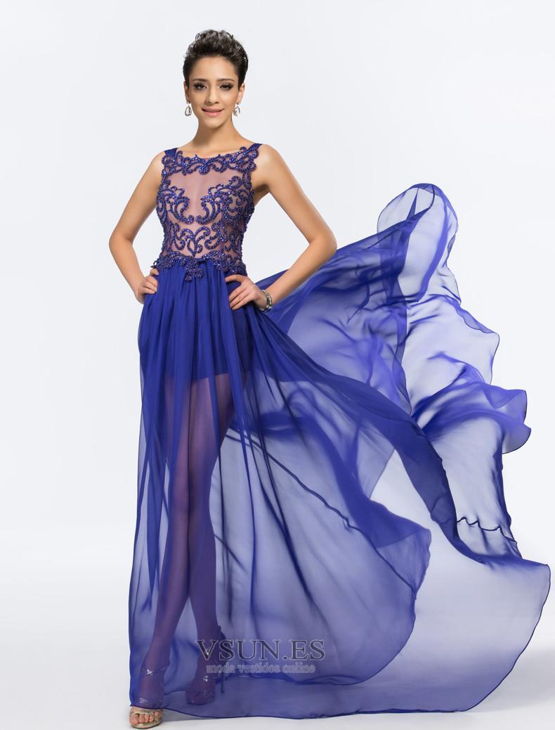 Vestido De Fiesta Sexy Transparente Gasa Abalorio Corte A