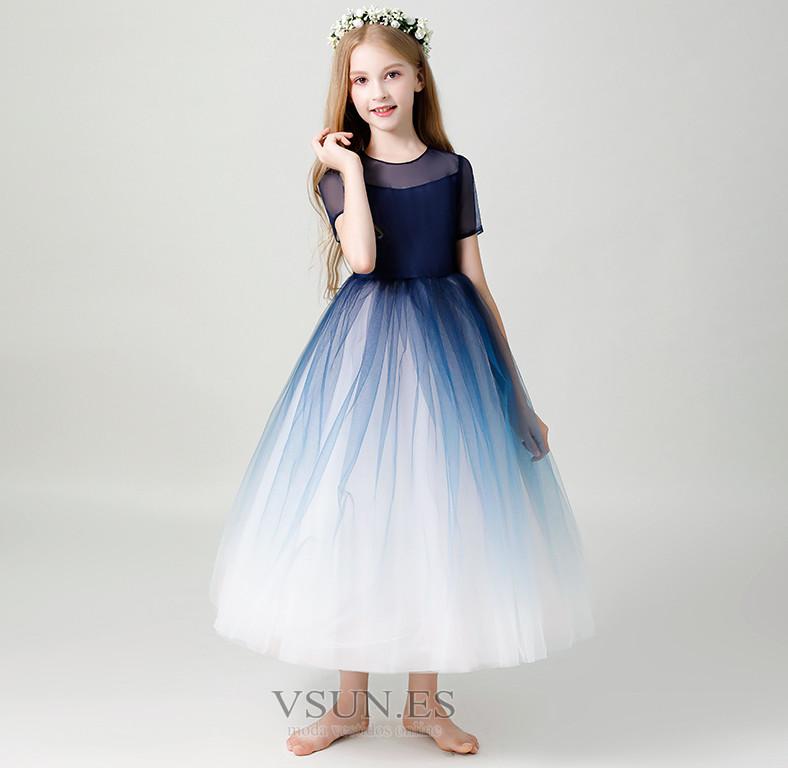 7ee3a40f6 Vestido niña ceremonia Cremallera Corte-A tul Falta Oscilación ...