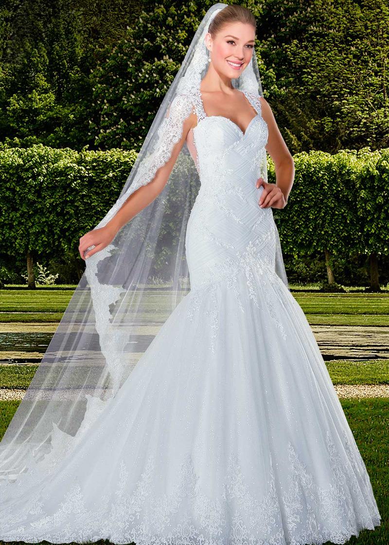 2a2e24402 Vestido de novia Con velo Alto cubierto Volantes Adorno tul largo Moderno -  Página 1 ...