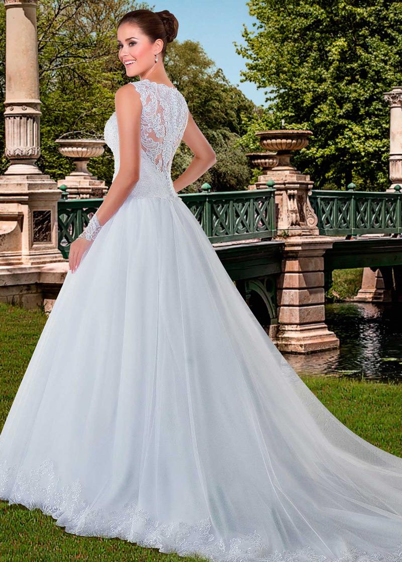 Vestido de novia Con velo Cintura Baja Moderno largo Sin mangas ...