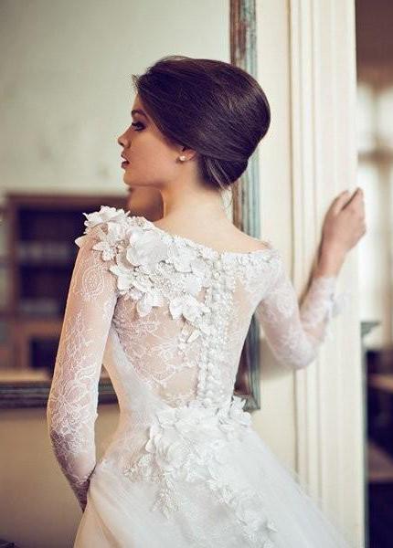 Vestidos de novia corte princesa con manga larga