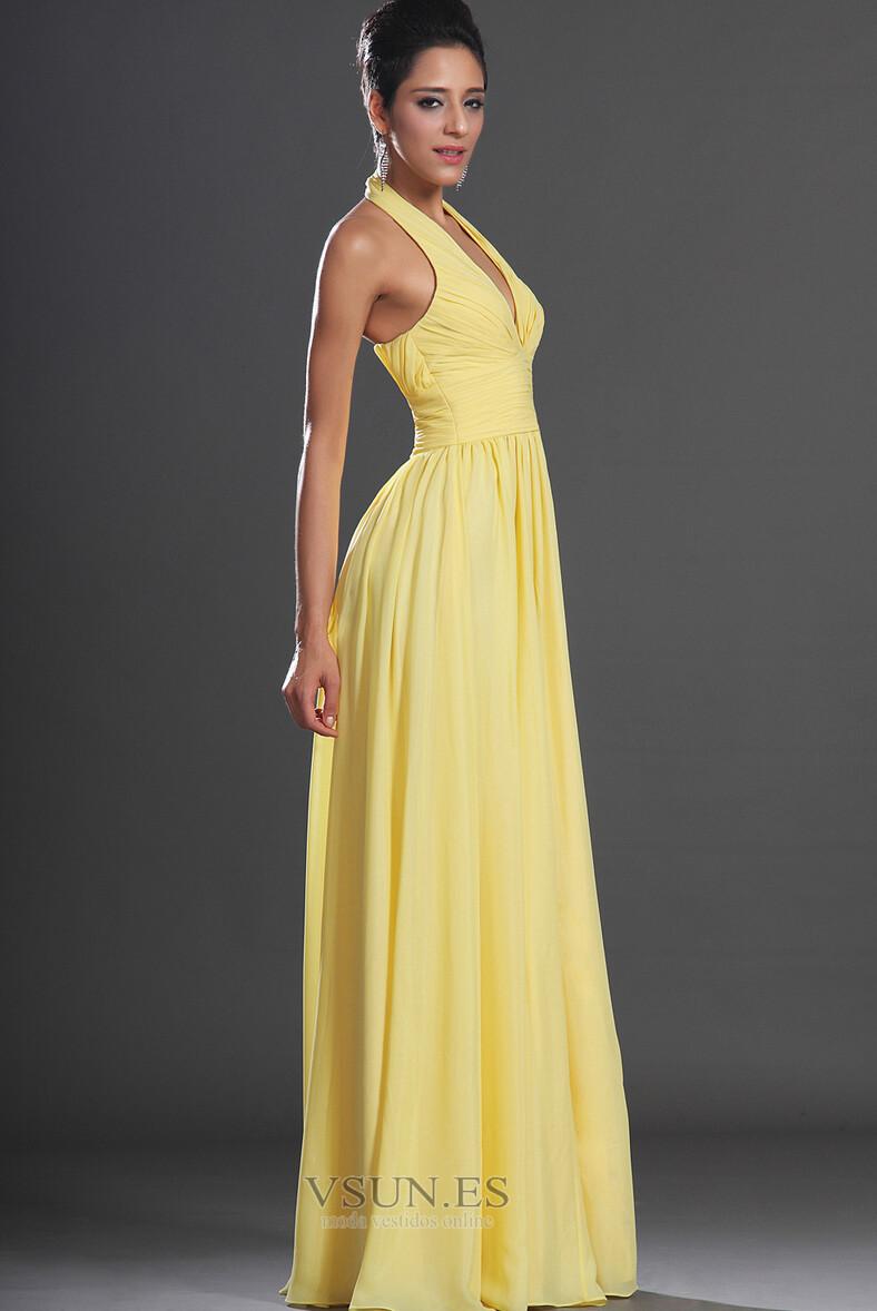 3c82eafa1df5 Vestido de noche primavera Espalda medio descubierto sexy Amarillo ...