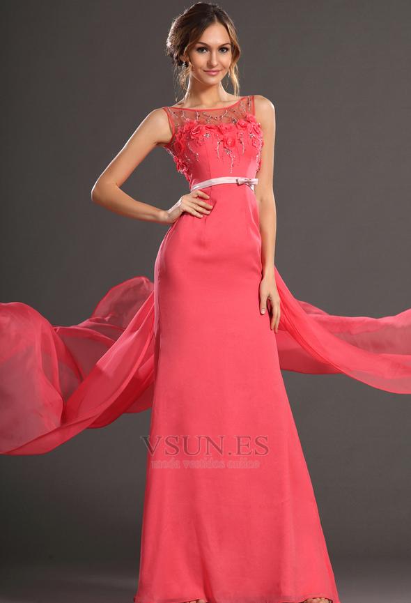 vestido de fiesta cola corte fantasa elegante gasa cortea natural pgina