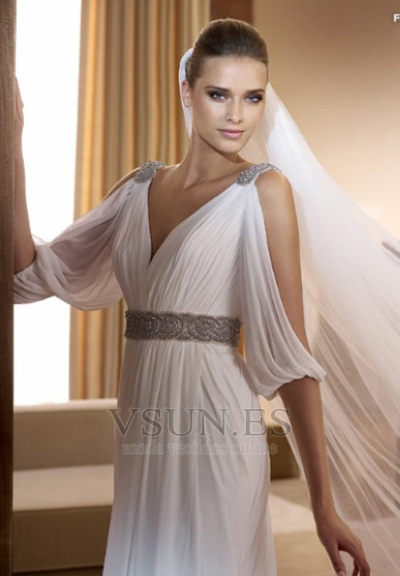 vestido de novia estilo griego con velo abalorio blanco moderno