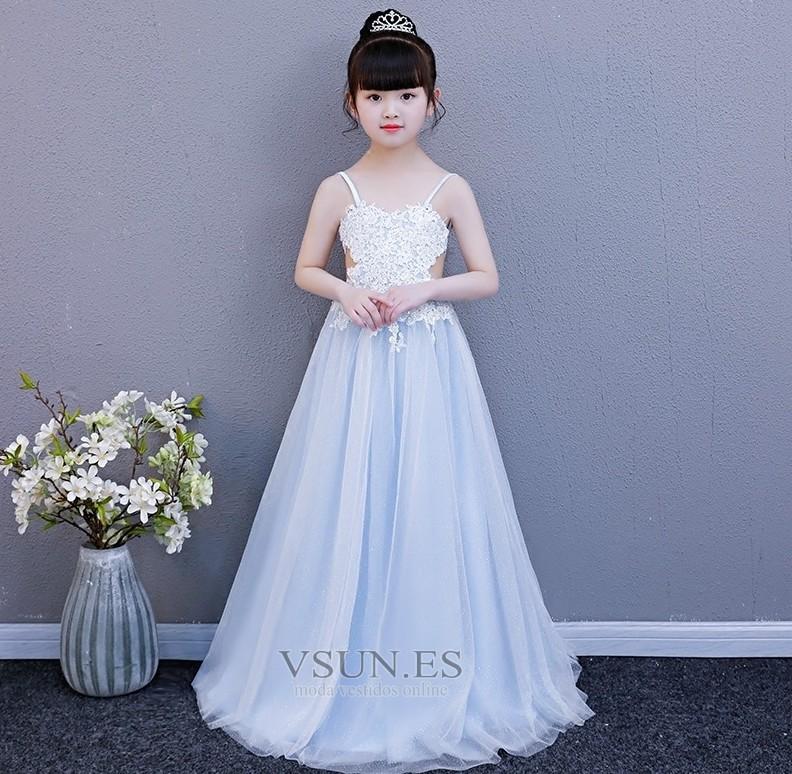 Vestido Niña Ceremonia Falta Encaje Moderno Hasta El Suelo