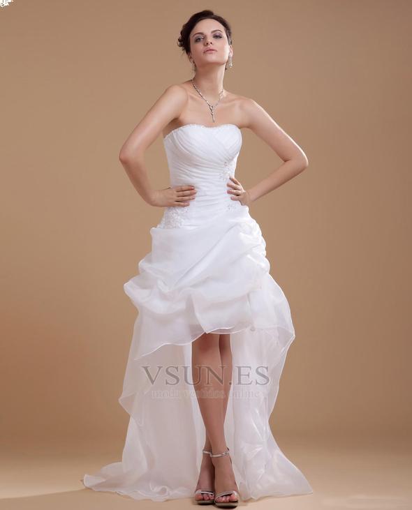 0488f1b77 Vestido de novia informales Asimètrico Falta Blanco Espalda medio  descubierto - Página 1 ...