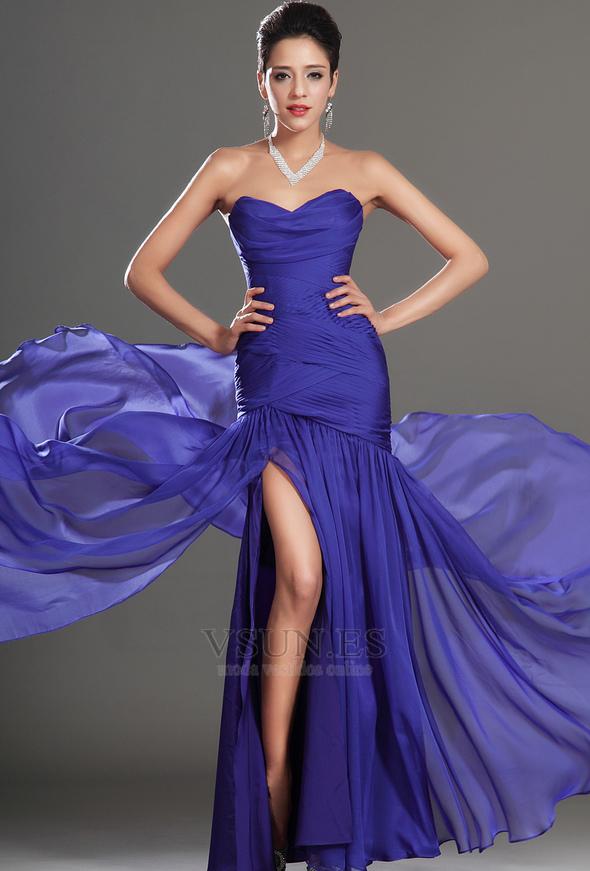 Vestido de fiesta Glamouroso azul medianoche Sin tirantes Hasta el ...