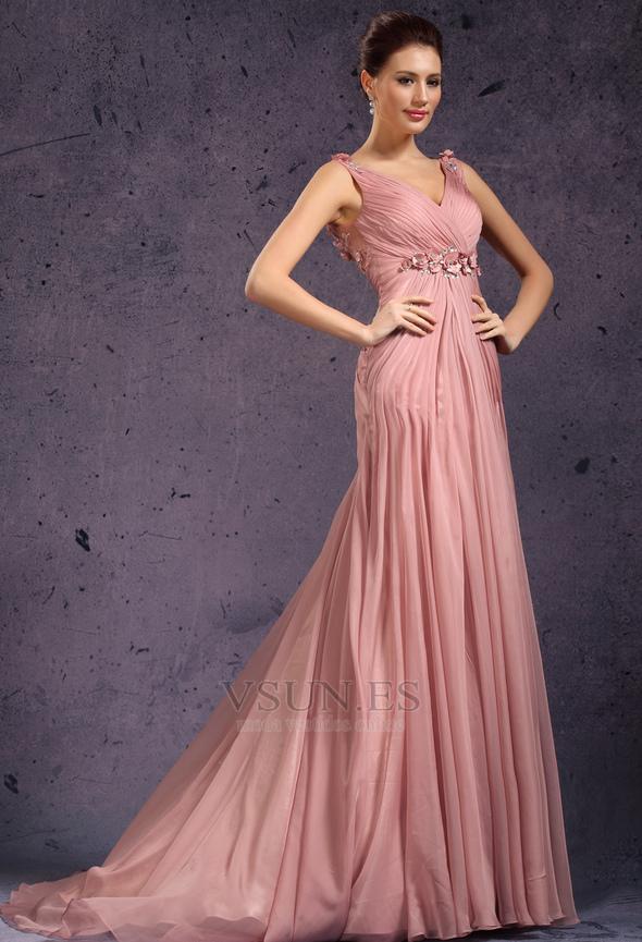 Vestido de noche Rosa Perla Cola Barriba Imperio Rosetón Acentuado ...