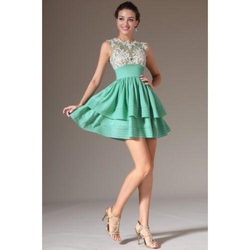 Vestido De Fiesta Encaje Corte Princesa Cremallera Verano