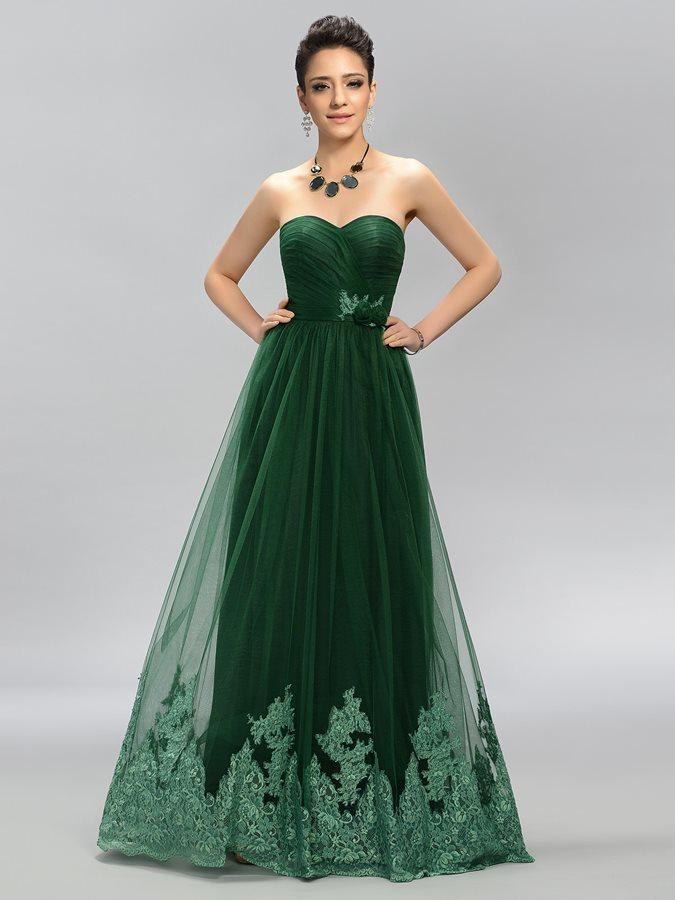 e233b69f35 Vestido de fiesta Elegante Cola Barriba Corte-A Encaje Natural Bordado -  Página 1 ...