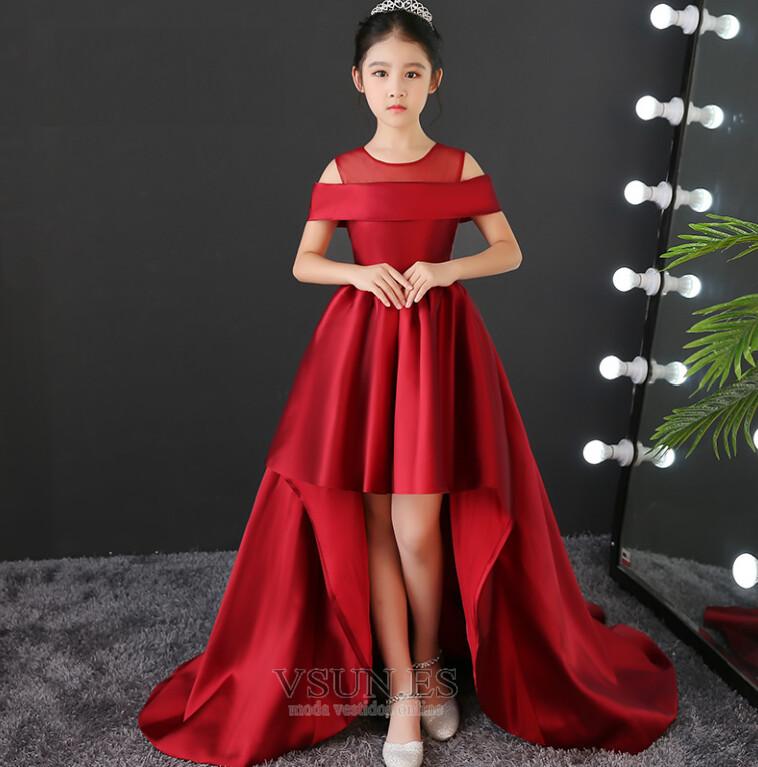 Vestido Niña Ceremonia Elegante Natural Alto Bajo Manga