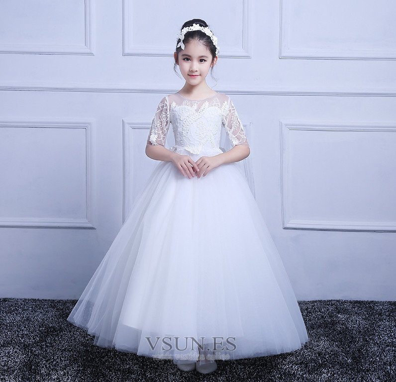 31304a30c Vestido niña ceremonia Manga corta Hasta el Tobillo Capa de encaje ...