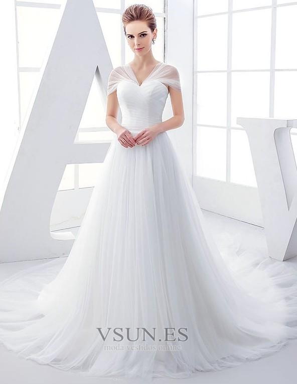 vestido de novia tul elegante manga tapada natural reloj de arena
