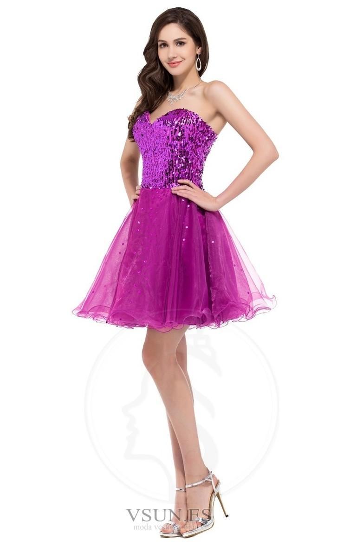 Vestido de graduacion Natural Glamouroso Falta Sin mangas tul Escote ...