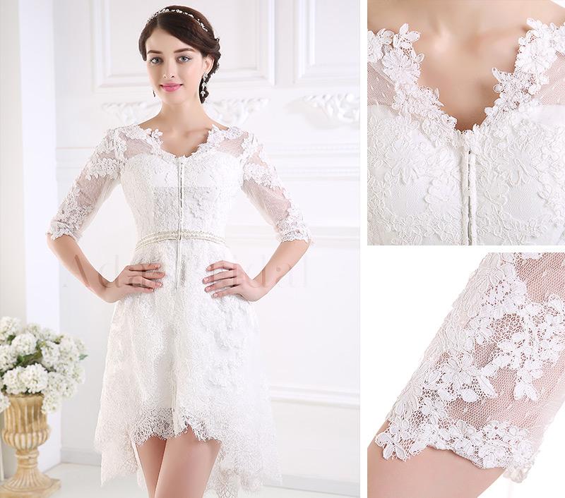 Vestido de novia Encaje Alto cubierto Manga de longitud 3/4 Corto ...
