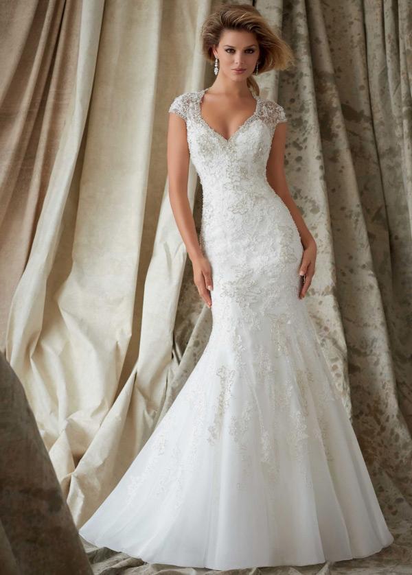 vestido de novia natural escote en v encaje corte sirena iglesia