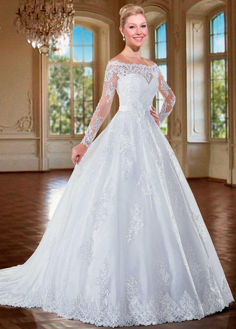 Vestido de novia Cremallera Manga larga Flores Sala Escote con ...