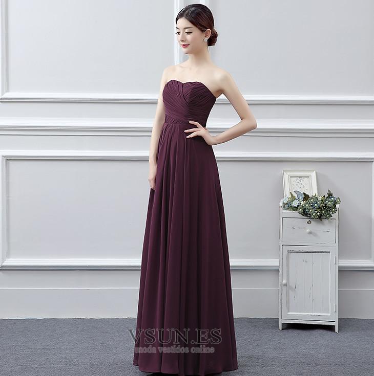 29b63c788 ... Vestido de dama de honor Plisado Gasa Sin mangas Blusa plisada Natural  Corte-A ...