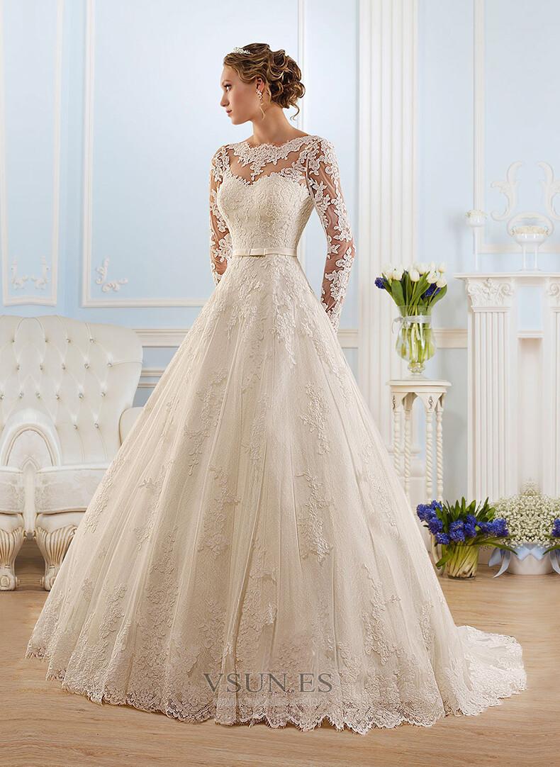 Vestido de novia corte a con encaje