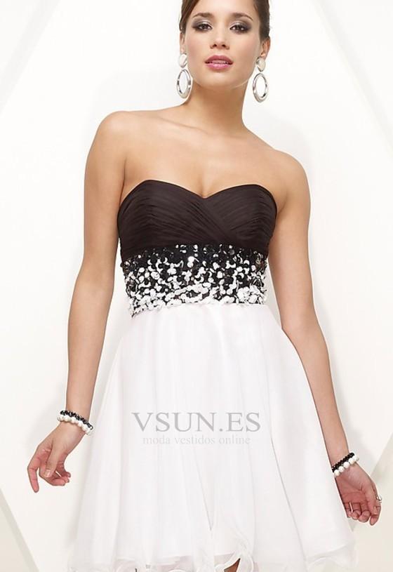 vestido de graduacion sin mangas corto blusa plisada