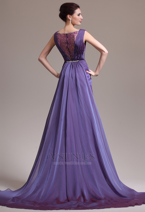 Vestido de noche Elegante Gasa Hasta el suelo Púrpura Escote en V ...