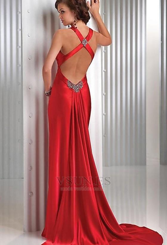 Vestido de fiesta Rojo Oscuro Criss Cross Blusa plisada Falta Espalda Descubierta , Página 2