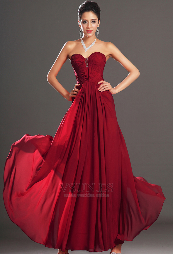 Vestido de noche Rojo Oscuro Sin tirantes Para Imperio Natural ...