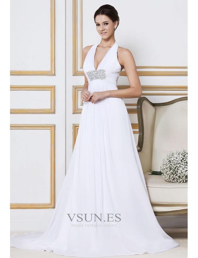 10c37157f ... Vestido de novia Verano Gasa Cola Barriba Sin mangas Imperio Cintura -  Página 2 ...