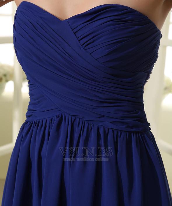 638a746b5 ... Vestido de dama de honor Hasta la Rodilla azul oscuro Elegante Corte-A Blusa  plisada