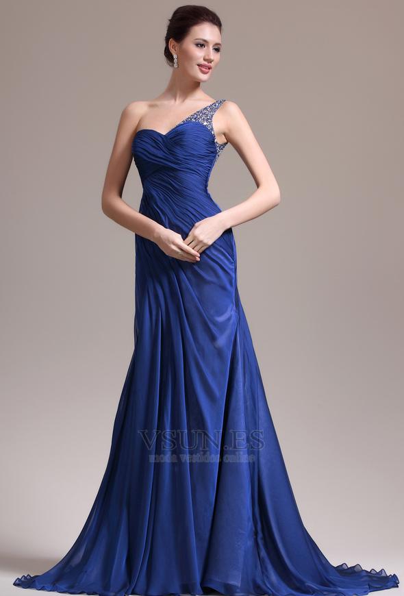 Vestido de noche Sin mangas Elegante azul medianoche Pura espalda Un ...