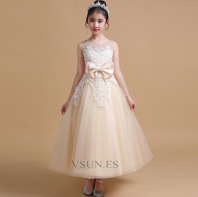 f2307f6e37f9f Vestido niña ceremonia Lazos Falta Arco Acentuado Sin mangas Joya Espalda  con ojo de cerradura ...