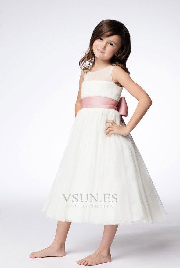 Vestido niña ceremonia Joya Arco Acentuado Sin mangas Formal Natural Hasta  la Tibia