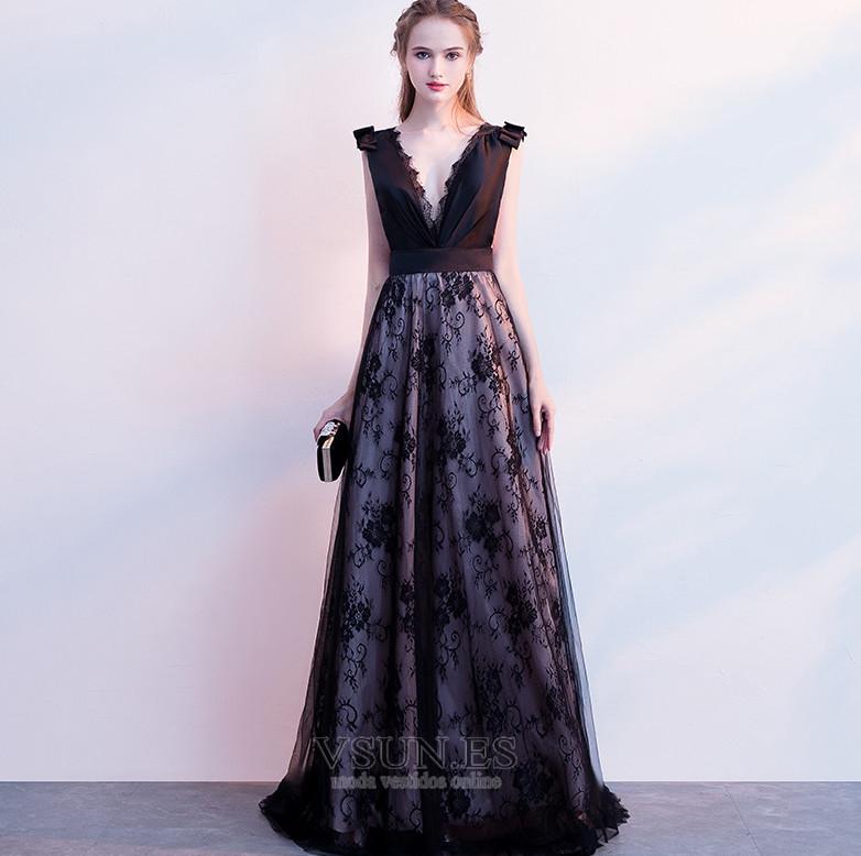 b334987c6d Vestido de fiesta Elegante Escote en V Sin mangas Capa de encaje Corte-A ...