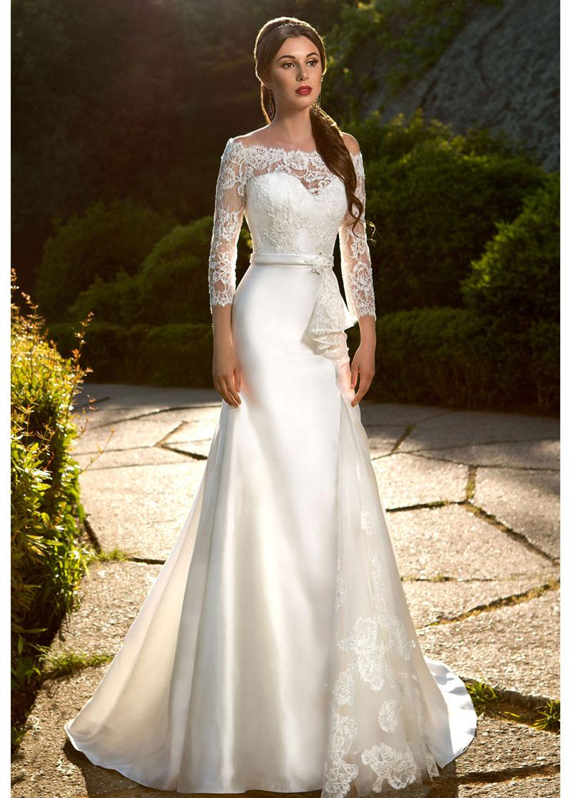 Vestido de novia Corte Sirena Manga de longitud 3/4 Encaje Natural ...