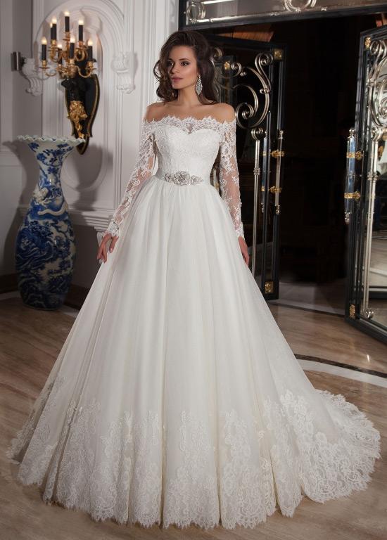 vestido de novia manga larga bola iglesia mangas illusion clasicos