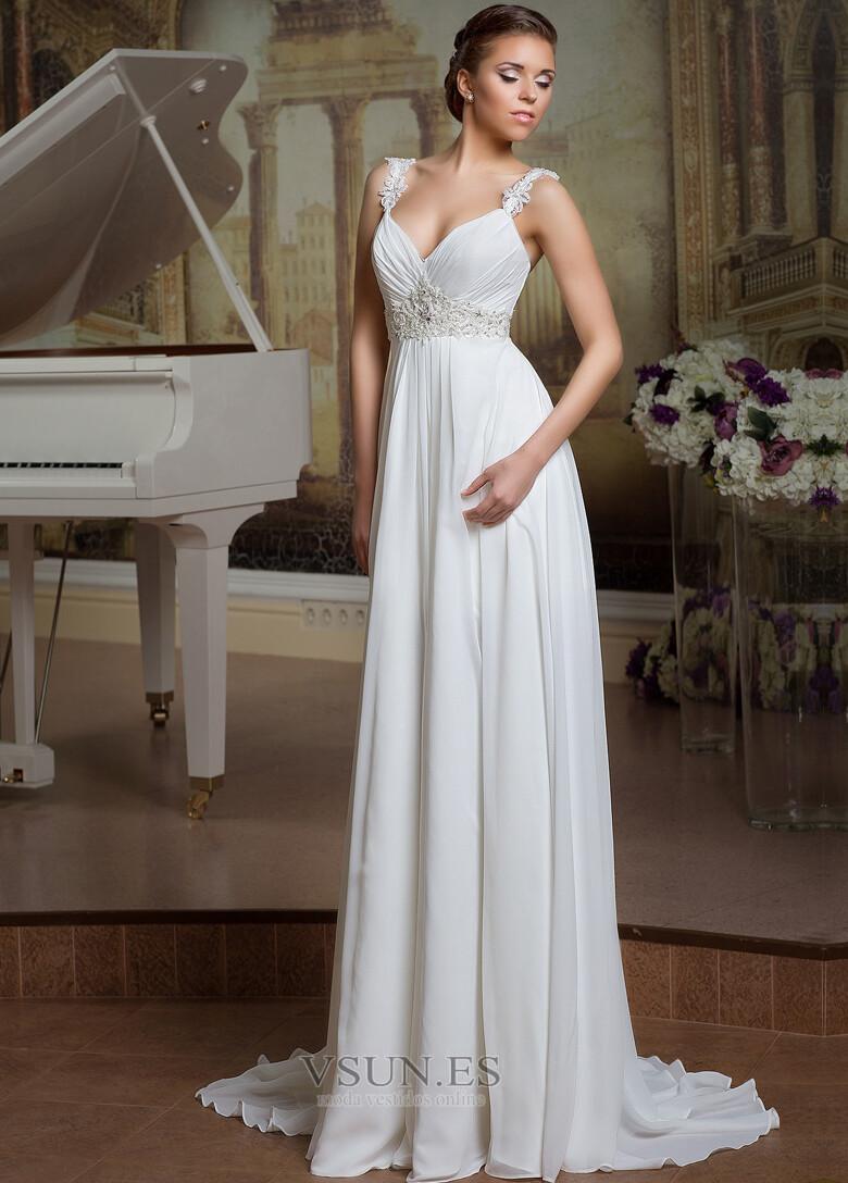 Vestido de novia Elegante Espalda Descubierta Sin mangas Plisado ...